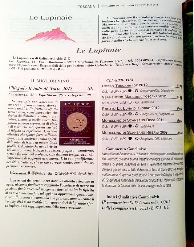 """Migliori Vini Italiani 2014 - Luca Maroni il Ciliegiolo """"Sole di Notte"""" - Azienda Le Lupinaie La recensione"""